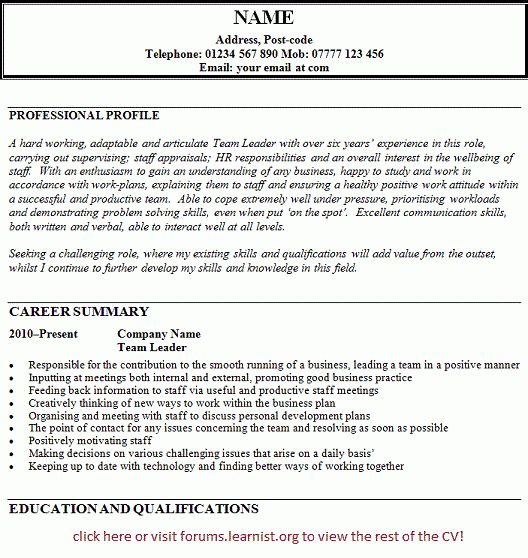 leadership resume example team leader resume supervisor cv