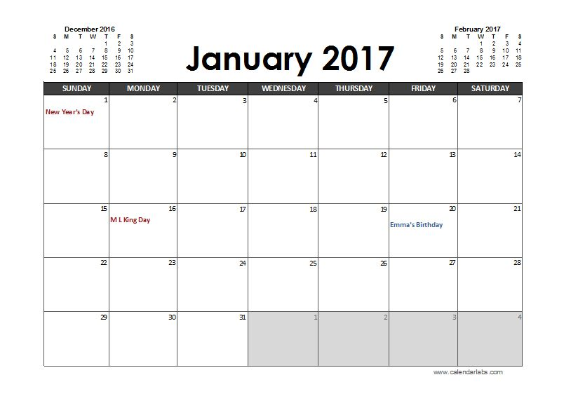 2017 Excel Calendar Planner - Free Printable Templates