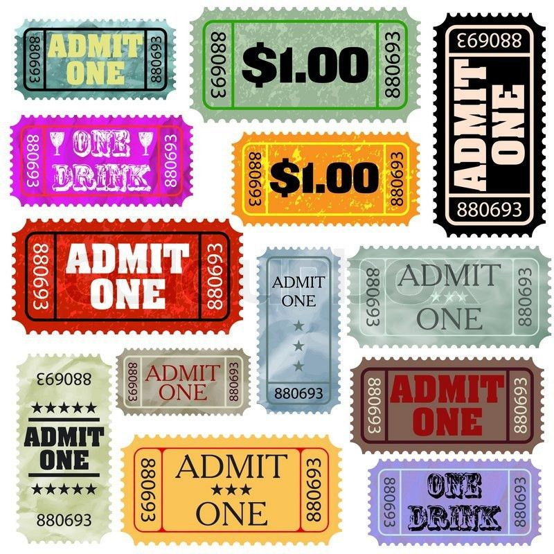 Tickets in different styles template set | Stock Vector | Colourbox