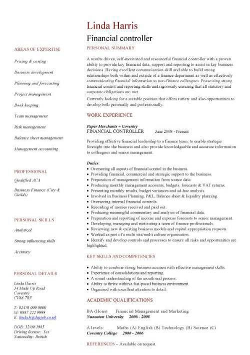Ideas of Sample Resume Financial Controller Position About Form ...