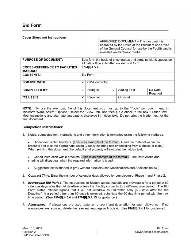 Bid Proposal Form Pinterest U2022 The Worldu002639s Catalog Sample ...