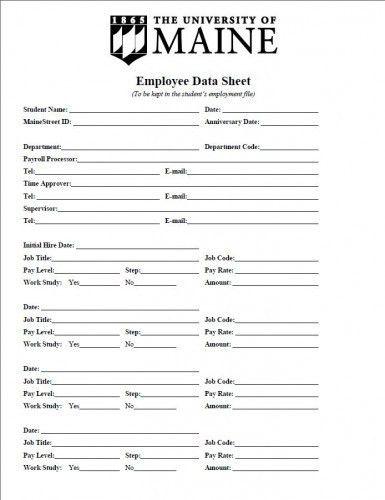 Student Employee Information Sheet - Sample - Student Employment ...