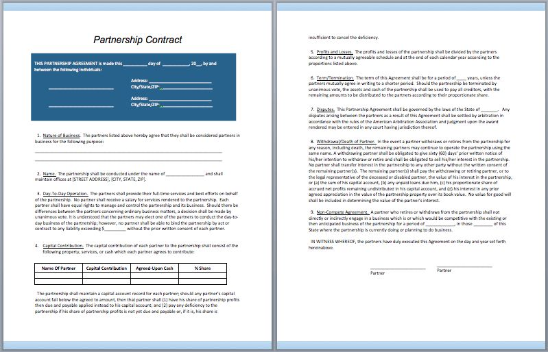 Partnership Contract Template – ContractGuru
