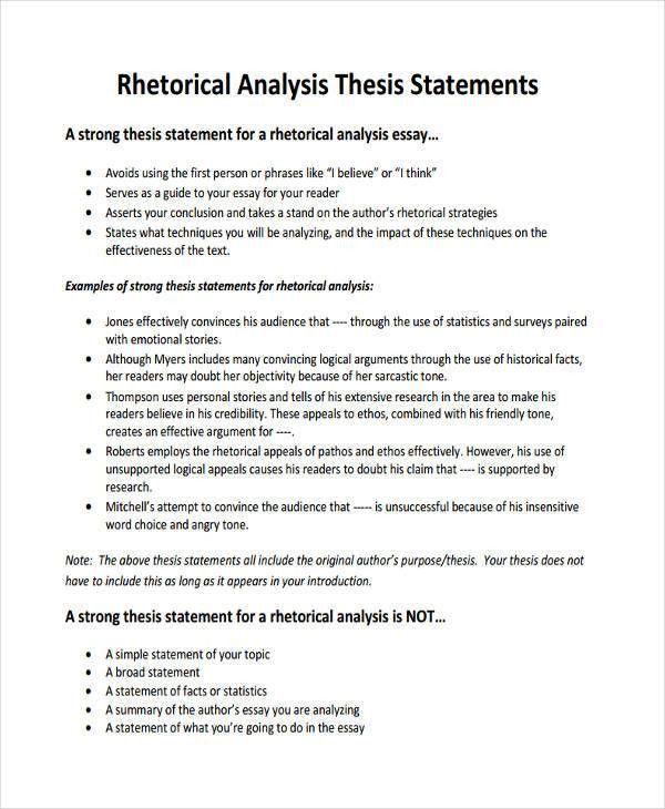 Thesis Statement Example 7 Thesis Statement Examples Download In