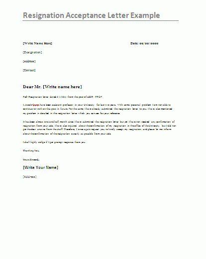 Resignation Letter Format: Short Notice Acceptance Of Resignation ...