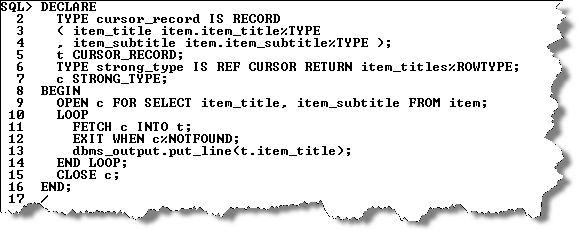 system reference cursor | Maclochlainn's Weblog