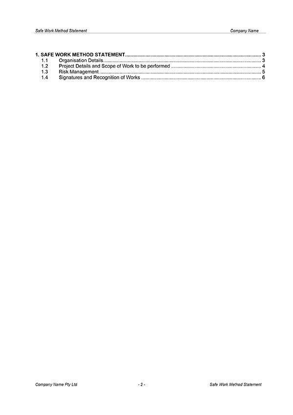Safe Work Method Statement Template | Digital Documents Direct