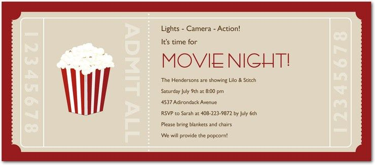 Movie Ticket Party Invitation Template Free Modest | neabux.com
