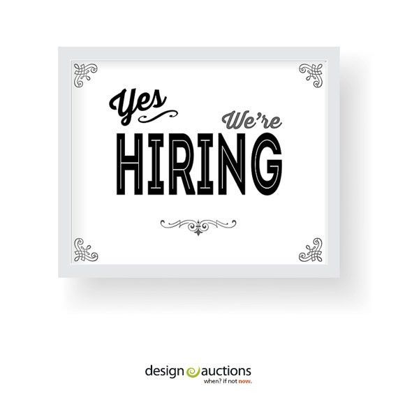 Yes we're hiring sign printable instant by designauctionsnow ...