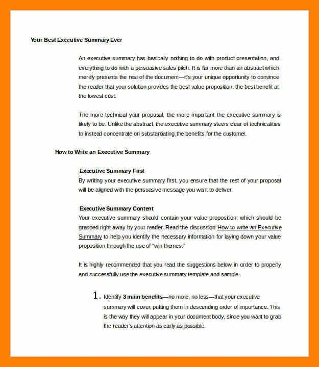 Sample Executive Summary Template. Executive Summary Format Sample ...