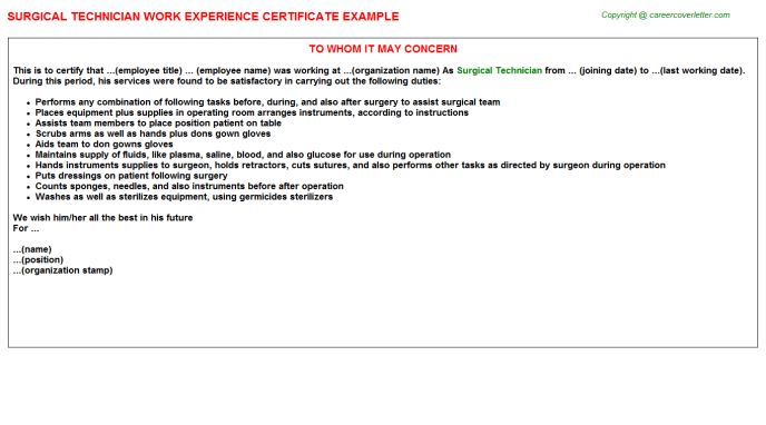 Surgical Tech General Surgery Work Experience Letters