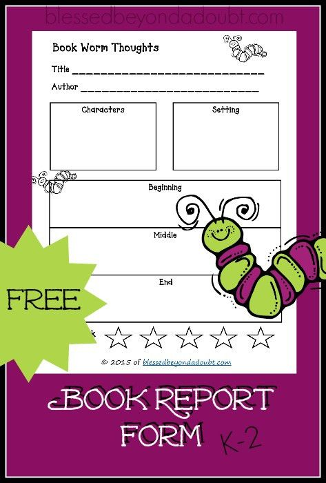 FREE Printable Book Report Form! So Cute!