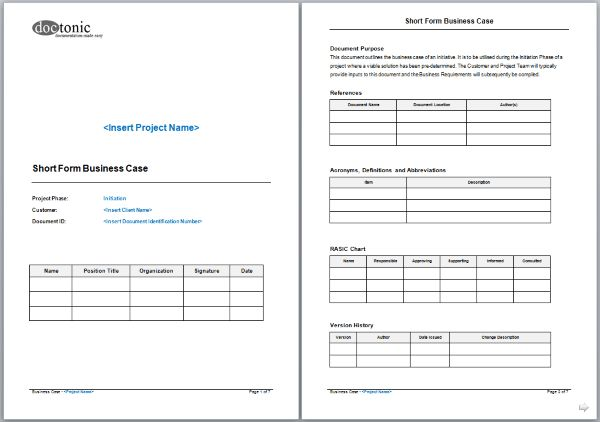 Short Form Business Case Template – Easy Document Creation
