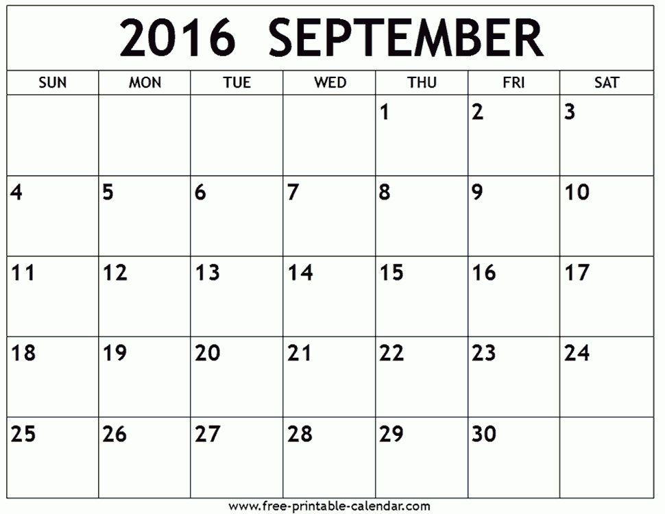 September 2016 Calendar Template   monthly calendar printable