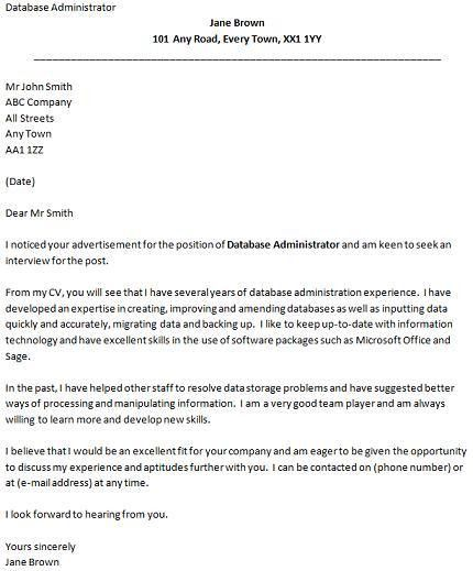 Database Administrator Cover Letter Example - icover.org.uk