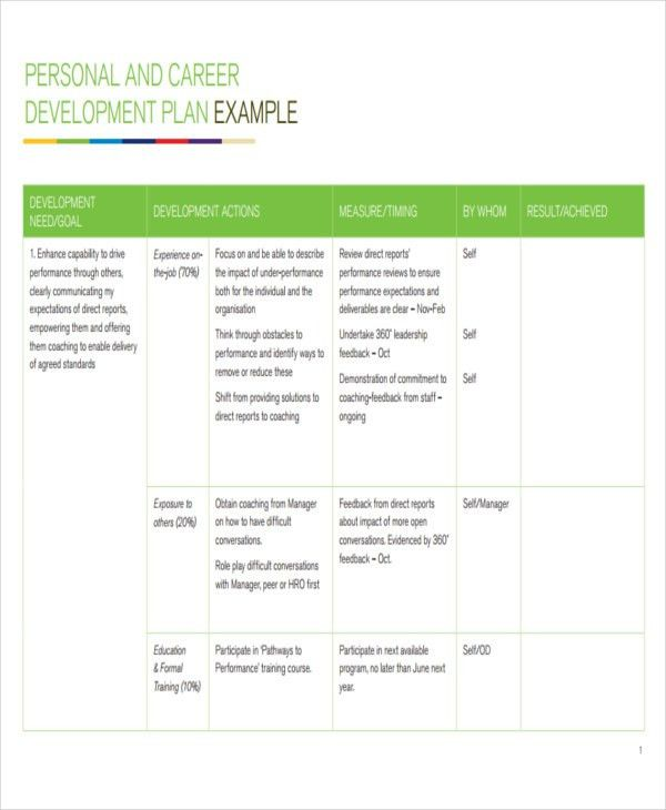 performance review development plan examples