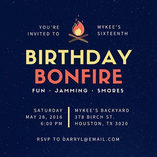 Backyard Bonfire 16th Birthday Invitation - Templates by Canva