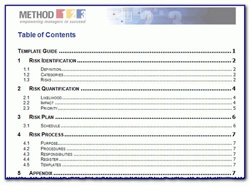 Risk Management Templates from Method 123 – Project Management ...