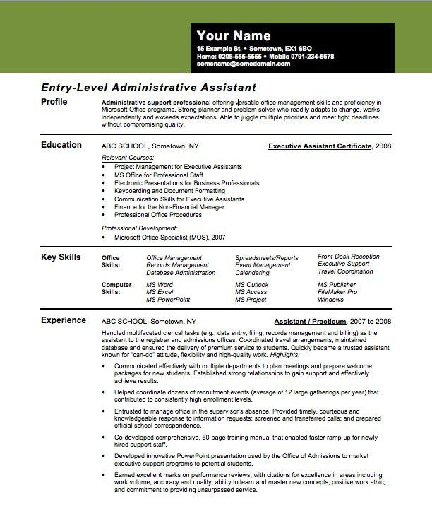 Entry-Level Assistant Principal Resume Templates | entry level ...
