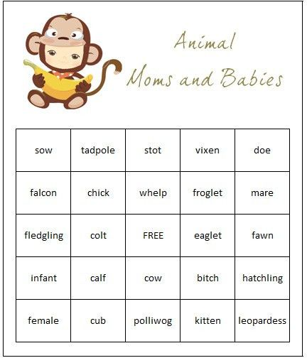 FREE Baby Shower Game Templates For Animal Themed Baby Showers