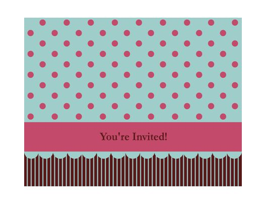 Invitation note card (pink and blue, quarter-fold, A2 size ...