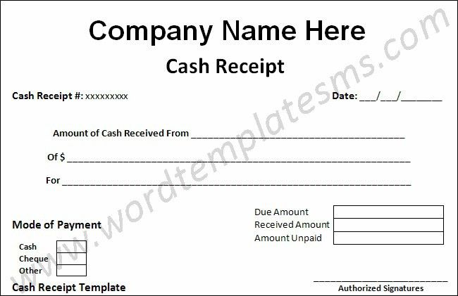 money receipt template word