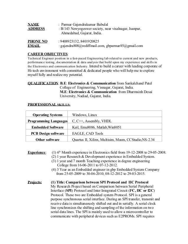 Embeded Linux Engineer Sample Resume 11 Embedded System Engineer ...