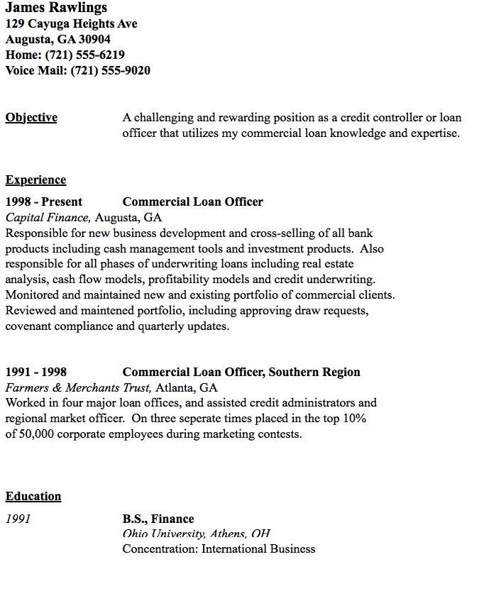 Commercial Loan Officer Resume Sample - http://resumesdesign.com ...