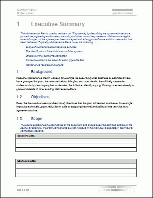 Maintenance Plan Template - Technical Writing Tips