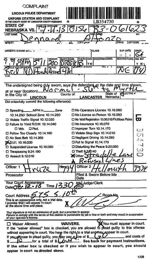 Document: Police report for Alfonzo Dennard's DUI arrest ...