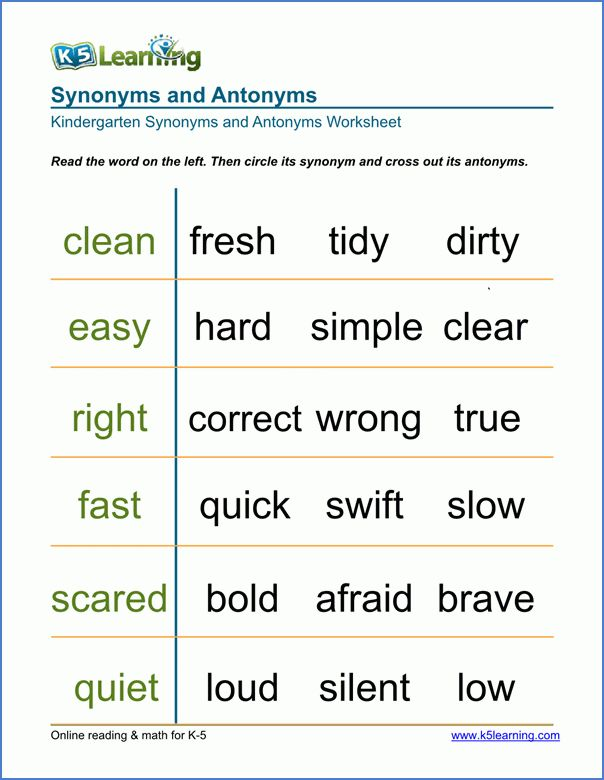Free Preschool & Kindergarten Synonyms and Antonyms Worksheets ...