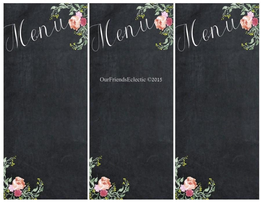 Printable Chalkboard Menu, Chalkboard Wedding Party Menu, Menu ...