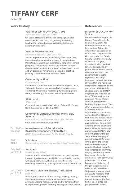Sample Volunteer Resume | jennywashere.com