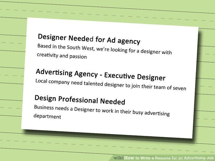 3 Ways to Write a Resume for an Advertising Job - wikiHow