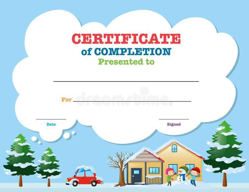 Certificate Template With Kids In Winter Stock Vector - Image ...