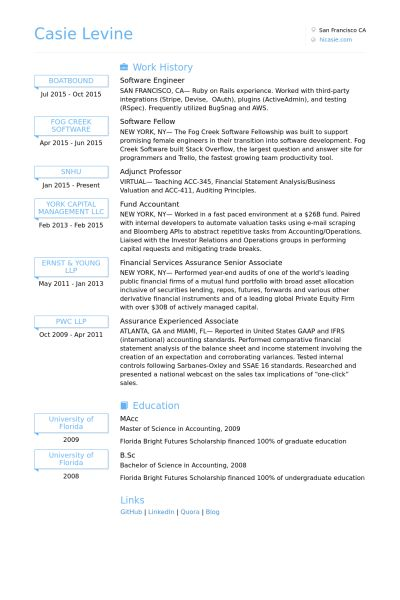 Software Engineer Resume samples - VisualCV resume samples database
