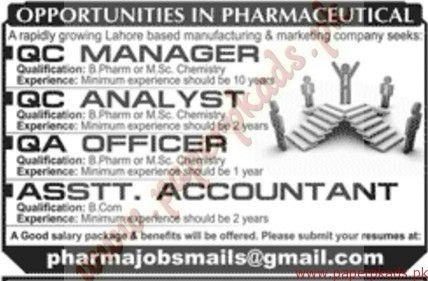 QC Manager and Analysts, QA Officers and Assistant Accountant Jobs ...