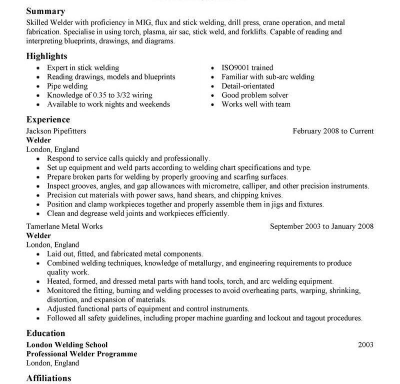 Mig Welding Resume Samples. combo welder cover letter. pipe welder ...