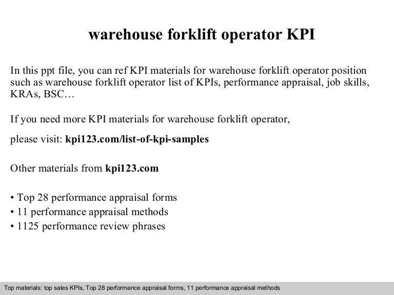 Warehouse forklift operator kpi