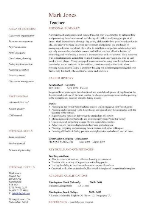 Resume Format For School Teacher Job - Best Resume Collection