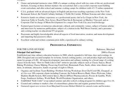 great chef resumes reentrycorps. chef sample resume resumepower ...