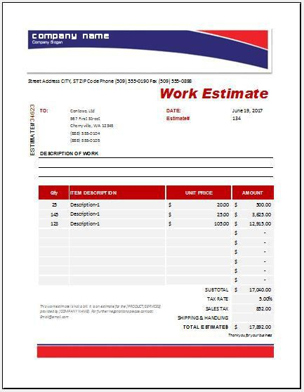 Work Estimate Templates for MS Excel | Word & Excel Templates