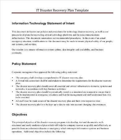 IT Disaster Recovery Plan Template - 7+ Free Word, PDF Documents ...