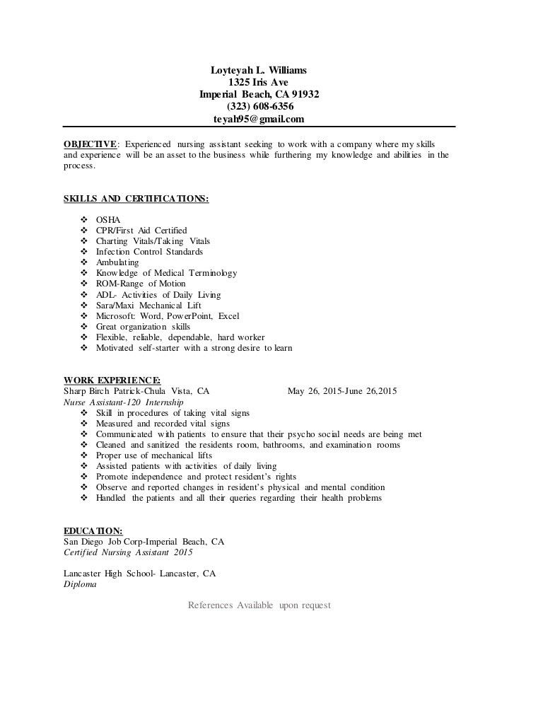 sample resume for a cna cna resume no experience cna sample resume ...