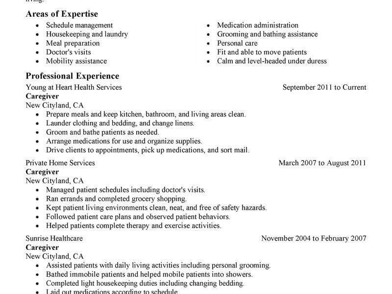 Inspiring Caregiver Resume Pretty - Resume CV Cover Letter