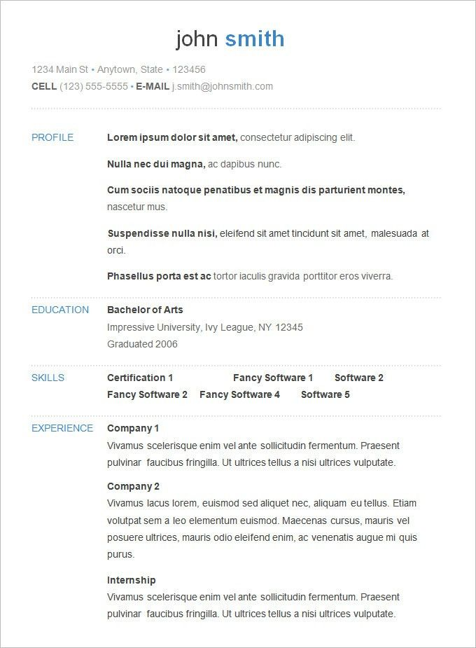 Stunning Design Ideas Basic Resume Templates 4 Basic Resume ...