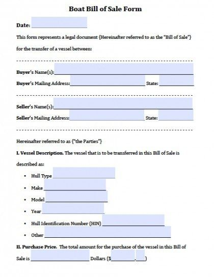 Free Boat | Vessel Bill of Sale Forms | PDF | Word (.doc)