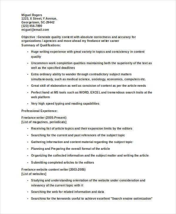 8+ Writer Resumes - Free Sample, Example Format Download | Free ...
