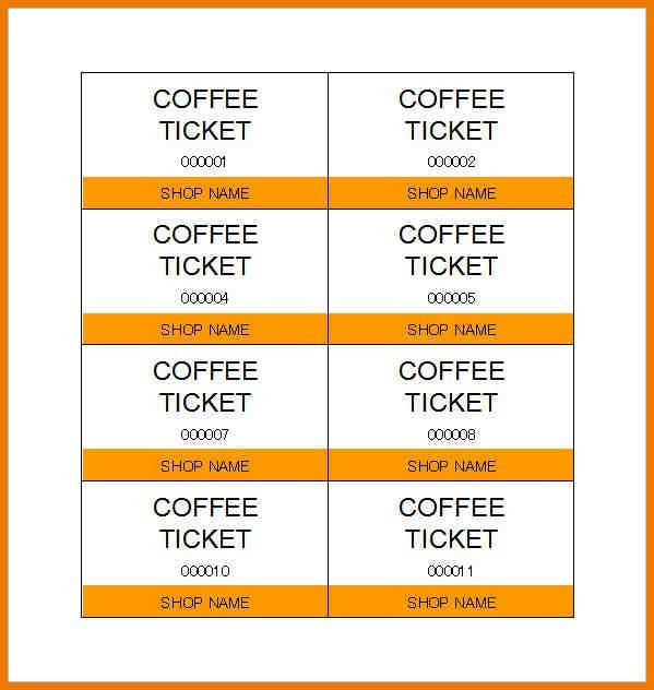 Food Ticket Template] 17 Ticket Templates Free Sample Example Format ...