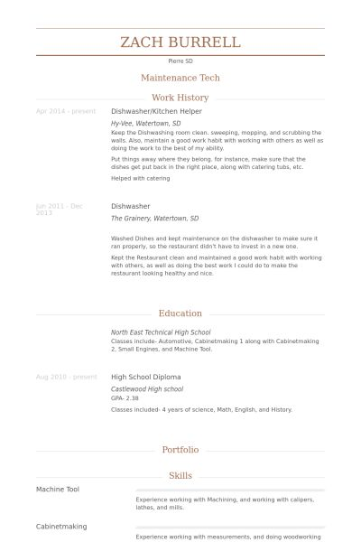 Kitchen Helper Resume samples - VisualCV resume samples database